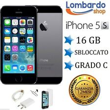 APPLE IPHONE 5S 16GB GRADO C NERO ORIGINALE RIGENERATO RICONDIZIONATO USATO