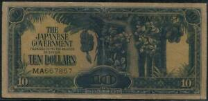 Malaya Japanese Occupation $10 Banknote with Serial No. (MA) - 1942.