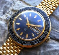 ✩ Vintage RAKETA ☭ USSR 70s Time Zones cal.2628.H pilot wrist watch Gold Plated