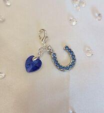 Something Blue Crystal Horseshoe & Swarovski Element Crystal Heart Bride Gift