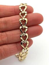 """14k Yellow Gold Solid Plain and Nugget Style Heart Link Bracelet 7"""" 13g"""