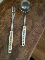 VINTAGE EKCO soup Ladle, And Meat Fork, Chromium Plated, Cute