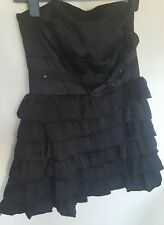 NEW LOOK WOMEN Little Black dress size 12 boob tube with zip and bow detail