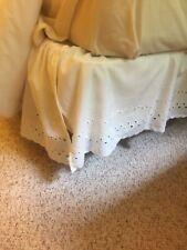 Full Size Bed Skirt White Eyelet Lace Cotton Blend