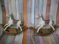 Adorable 2 pc. Burwood Products Co. Child Hanging Rocking Horse Wall Decor USA