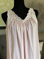 Vintage Shadowline Pink Nylon Lace Lingerie Sleeveless Nightgown Size Small