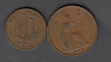 1948 UNITED KINGDOM KING GEORGE VI 1/2 & 1 PENNY COINS IN NICE CONDTION