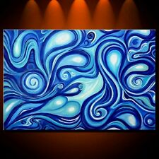 Painting Original Oil Modern Abstract Art Large Canvas Mermaid Blue Ocean Decor