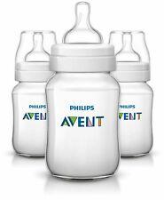 3 X Philips Avent Classic Baby Feeding Bottle 260ml/9oz Slow Flow 1m Scf563/37