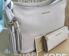 MICHAEL KORS ASHBURY LARGE SLOUCHY LEATHER Shoulder Bag & WALLET-Ecru Beige NWT