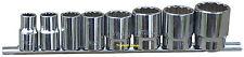 "Whitworth 1/2"" drive socket set on rail - 8pc Chrome vanadium"