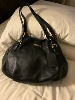 Authentic Black Leather Prada Hobo
