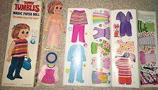 Vtg 1969 Tippy Tumbles Magic Paper Doll Remco 35 Piece USA Stay On Wardrobe