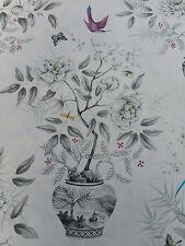 Zoffany Curtain Fabric 'Romey's Garden' 3.4 METRES (340cm) Dove Grey 100% Linen