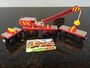 Thomas & Friends Wooden Railway- ROCKY THE CRANE - 2003 W/CHARACTER CARD EUC