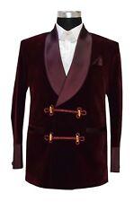 Men Blazer Coat Jackets Bilberry Smoking Velvet Stylish Burgundy Shawl collar