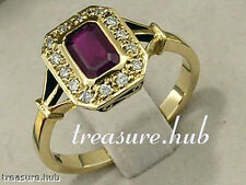 R657 TIMELESS 9K Solid Gold Natural RUBY Diamond Engagement Ring Solitaire sizeN