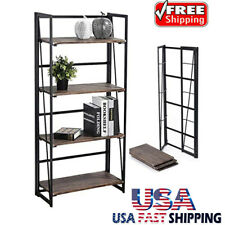 4 Tiers Folding Book Shelf Display Unit Free Standing Book Stand Storage Rack US