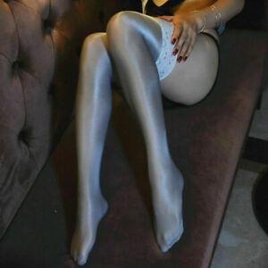 Ladies 70D Super Shiny Hold Up Thigh High Stockings Nylon Hosiery Dance Clubwear