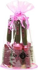 Headjog Pink Round Ceramic Ionic Brush Set Kit 5 Hair Tools Brushes In Gift Bag