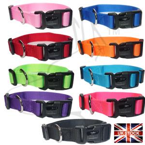 Dog Puppy Collar Nylon Adjustable Collars 4 sizes 9 colours UK Pet Accessories
