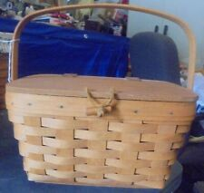 Longaberger Small Basket with Lid Toggle Button Leather Hinge - 1994