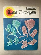 Original vintage Lee Target Baby Knitting Pattern Bonnet, Bootees & Mittens