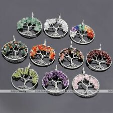1pc Tree of Life Wire Wrap Gemstones Amethyst Quartz Agate Chip Bead Pendant DIY
