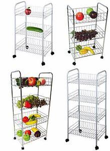 3/ 4 Tier Kitchen Trolley Wheeled Cart Vegetable Rack Fruit Basket Storage Unit