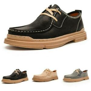 Mens Faux Leather Business Leisure Shoes Work Round Toe Office Lace up Oxfords L