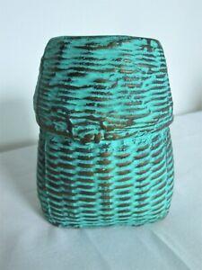 Unusual Ceramic Vase - Jade Green & Copper Basket Style