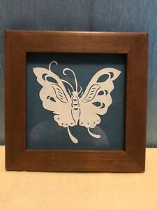 White Butterfly Paper Cutout  Framed Handmade 7.25""