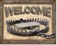 "Welcome - Bear Trap Hunting Outdoors Retro Tin Metal Sign, 16"" W x 12.5"" H"