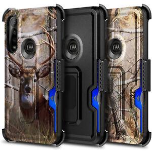 For Motorola Moto G Power Case, Belt Clip Holster Phone Cover + Tempered Glass