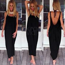 UK Women Boho Long Maxi Dress Loose Backless Lady Beach Evening Vintage Sundress