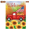 Toland Welcome Harvest Truck 28 x 40 Fall Autumn Sunflower USA House Flag