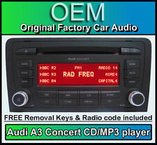 Audi A3 CD player, Audi Concert car stereo MP3 head unit with radio code + keys