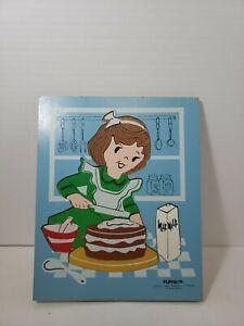 Vintage 1960s Playskool  Kids Wood Tray Puzzle Cake Maker # 275-43  11 pieces