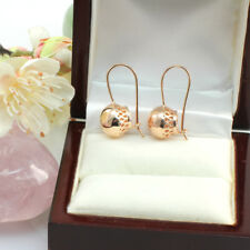 Vintage 14k Rose Gold GF Filigree 12 mm Ball Drop Earrings