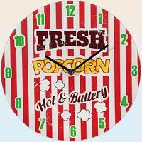 "Glas-Wanduhr Wall Clock Ø ca. 30 cm Uhr mit ansprechendem Motiv: ""Fresh Popcorn"""