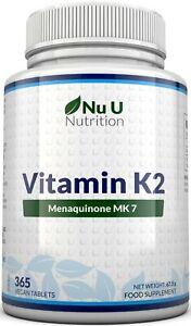 Vitamin K2 Natural Natto MK7 200mcg 365 Vegetarian and Vegan Tablets UK Made