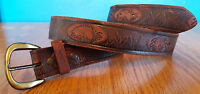 Leather Belt-Bass Fishing-Stamped-Distressed-Size 38-Brown-Genuine Leather