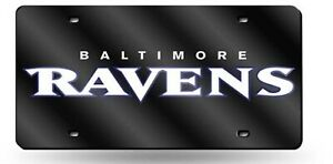 Baltimore Ravens BLACK Premium Laser Tag Acrylic Inlaid License Plate Football