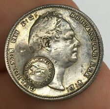 William IIII IV Counter Stamped Costa Rica 1837 Sixpence Coin Good Lustre