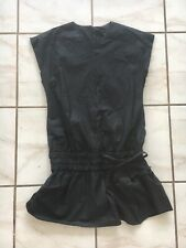 Marc Jacobs 4 Black Dress Cap Sleeve Drawstring Waist V-neck 100% Cotton
