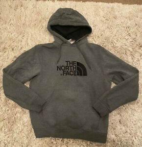 NORTH FACE Fleece Hoodie Grey Hooded Sports tracksuit top size L