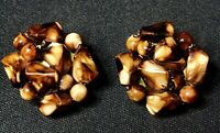 Vintage Estate Faux Stone Shell Gold Tone Hong Kong Clip On Earrings Retro Find