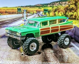 CUSTOM LIFT AND GRAPHICS HOT WHEELS 59 CADILLAC WOODIE RAT FINK 1/64 NICELY DONE