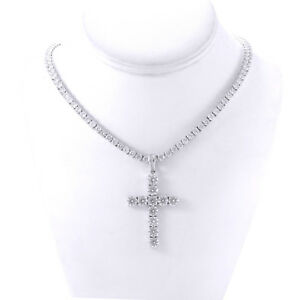 Mens Silver Finish Bling CZ Cross 4mm Tennis Chain 1 Row Necklace 20 inches