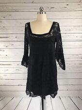 Free People Black Crochet Boho Gothic Bell Sleeve Mini Dress Womens Sz S